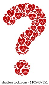 FAQ collage built from cardiology components. Vector cardiology icons are formed into question mark composition.