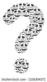 FAQ collage created with embarassed smile pictograms. Vector embarassed smile icons are organized into know how composition.