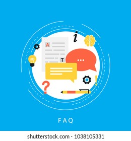 FAQ concept, frequently asked questions, client assistance and customer support, product and service information flat vector illustration design for web banners and apps