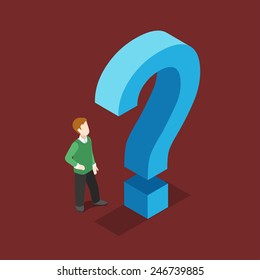 FAQ, frequently asked questions section, questionnaire or quiz opinion, query flat 3d web isometric infographic concept vector. Man and question sign.