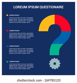 FAQ, frequently asked questions template, questionnaire or quiz opinion, query flat 3d web isometric infographic concept vector. pie chart creative shape question mark.