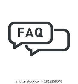 FAQ information sign icon. Help speech bubble symbol. Circle flat button with shadow. Modern UI website navigation. Vector