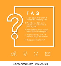FAQ / Question sign on a yellow background. Vector frame/background template for layout and design.