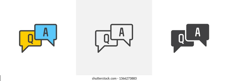 FAQ, questions and answers icon. Line, glyph and filled outline colorful version, Q and A speech outline and filled vector sign. Symbol, logo illustration. Different style icons set. Vector graphics