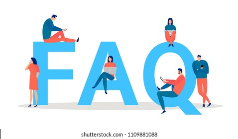 FAQ word  with little people standing and sitting near letters and using laptops; mobile phones and tablets. Frequently asked questions concept. Vector illustration