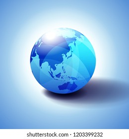 Far East China, Japan, Malaysia, Thailand and Indonesia, Background with Globe Icon 3D illustration, Glossy, Shiny Sphere with Global Map in Subtle Blues giving a transparent feel.