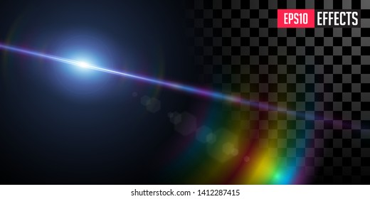 Far Star. Creative Vector Illustration of Far Blue Star. Transparent Sci-Fi Special Lens Flare Light Effect with Rainbow Shine. Concept Graphic Element.