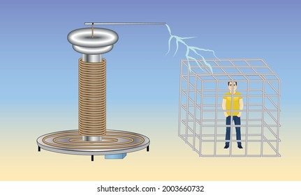 Faraday Cage. Physics Experiment. Electricity. Tesla Coil.