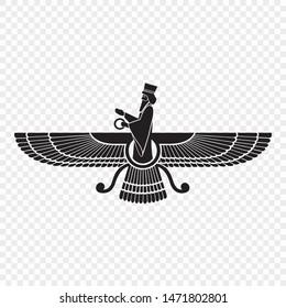 Faravahar. Symbol of Zoroastrianism.  Vector illustration