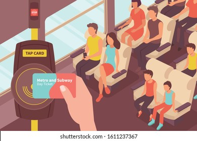 Fare payment isometric composition with view of passenger car with people and transport card ticket validator vector illustration