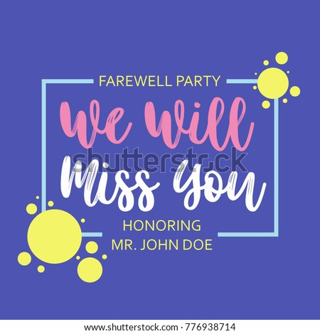 Farewell Card We Will Miss You Stock Vector Royalty Free 776938714