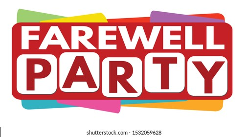Farewell party banner design on white background, vector illustration