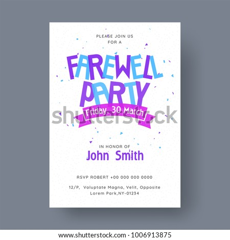 Farewell Party Banner Invitation Card Design Stock Vektorgrafik