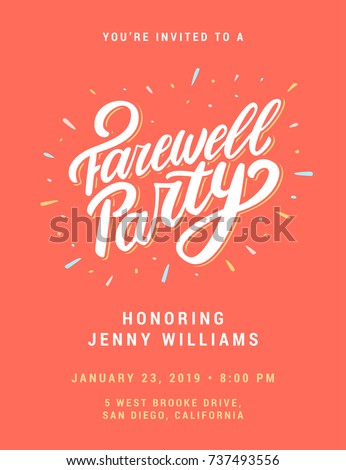 farewell party invitation template のベクター画像素材 ロイヤリティ