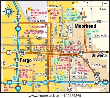 Fargo North Dakota Area Map Stock Vector (Royalty Free) 144494296 ...