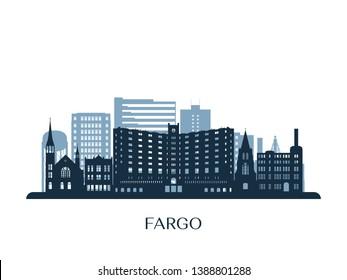Fargo skyline, monochrome silhouette. Vector illustration.