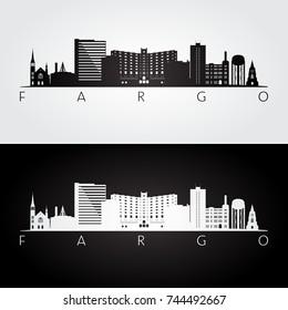 Fargo usa skyline and landmarks silhouette, black and white design, vector illustration.