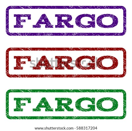 Fargo Watermark Stamp Text Caption Inside Rounded Rectangle Frame With Grunge Design Style Vector