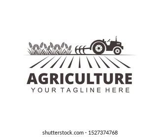 farm agriculture crop with tractor vector logo design template
