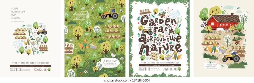 Farm, agriculture and garden. Vector illustration of garden work, garden beds, trees, village, home, tractor and nature. Drawing for poster, card or background.