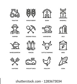 FARM AND AGRICULTURE LINE ICON SET