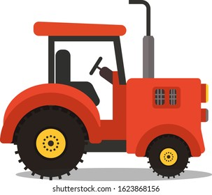 Farm Agriculture Red Tractor Vector illustration.Cartoon flat tractor design.Modern farm tractor