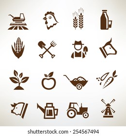 farm and agriculture vector icons collection