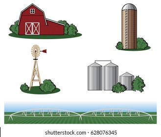 Farm and Agriculture Vector Icons Isolated on White