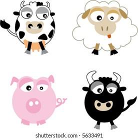 Farm animal cartoons (cow, pig, bull, ewe)