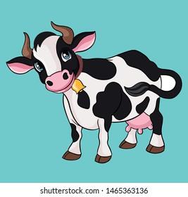 Farm animal cow cartoon vector illustration