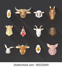 Farm animal flat avatars and farm products icons set with long shadows.