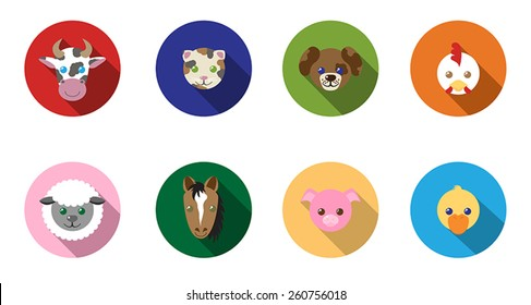 Farm animal flat, long shadow icons.  Featuring a cow, cat, dog, chicken, sheep, horse, pig, and duck.
