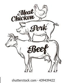 Farm, animal husbandry, cattle breeding, livestock farming. Beef, pork, chicken meat Cow pig rooster vector illustration