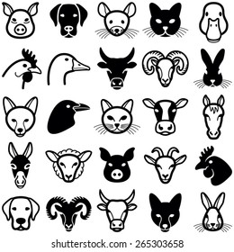 Farm animal icon collection - vector illustration