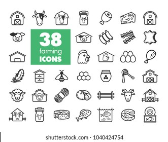 Farm animal icons set. Graph symbol for your web site design, logo, app, UI. Vector illustration, EPS10.