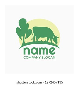 Farm animal logo, icon with cow. Agro company logo. Cow in a meadow with green grass. Vector nature and eco green logotype. Label for agricultural company