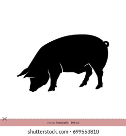 Farm Animal - Pig Silhouette Vector Logo Template Illustration Design. Vector EPS 10.