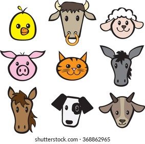 Farm Animal Set - Clipart - Vector Illustration