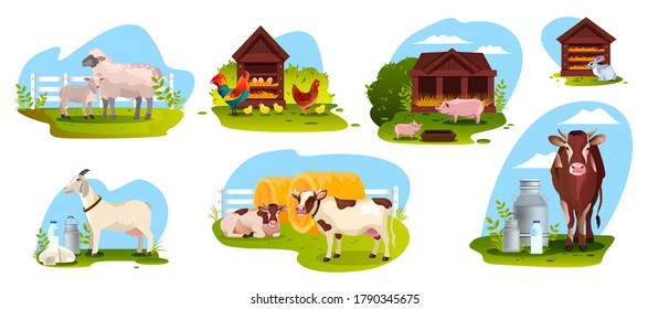 Farm animal set with sheep, cow, goat, pig, rooster, rabbit isolated on white. Agriculture farming illustration collection with domestic animals in flat style. Dairy products vector concepts