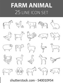 Farm animal thin line collection. 25 icon set. Flat design. Vector illustration
