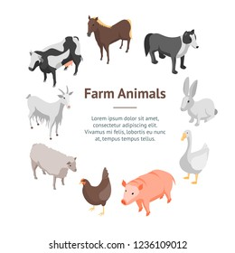 Farm Animals 3d Banner Card Circle Isometric View Include of Cow, Pig, Sheep, Horse, Hen and Goat. Vector illustration
