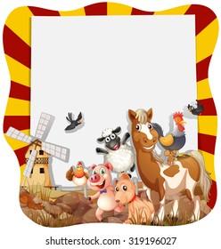 Farm animals around the frame illustration