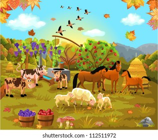 farm animals in the autumn field