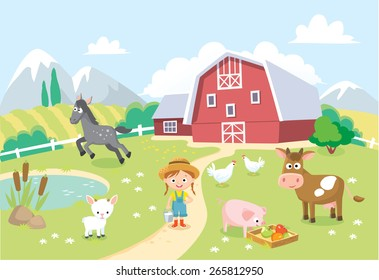 farm animals with barn and background