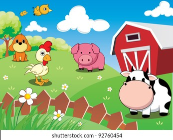 farm animals in the barnyard : cow, pig, chicken, dog, and cute birds.