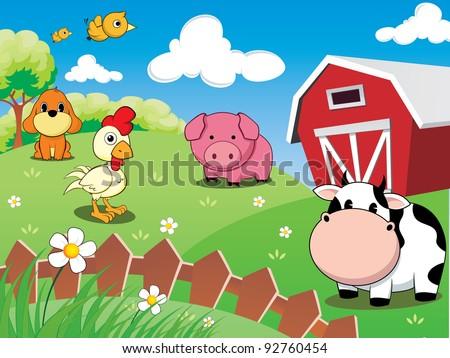 farm animals barnyard cow pig chicken stock vector royalty free