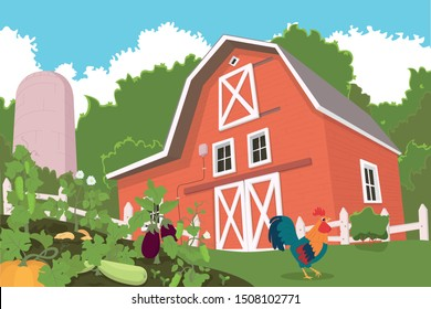 farm with animals and beds of vegetables in the foreground. wooden shed with animals and vegetables. vector illustration