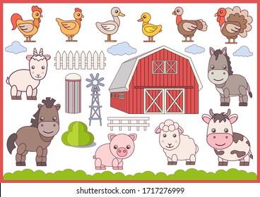 Farm animals and birds isolated on white background. Village barn. Collection cute cartoon animals characters. Farm Birthday decor. Vector illustration.