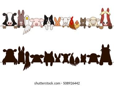 farm animals border with silhouette