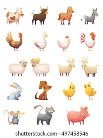 Farm animals cartoon icons set of hen gobbler cow horse ram cat bunny isolated vector illustration